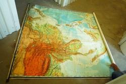 Hatalmas földrajzi térkép falitérkép iskolai szemléltető HÁTSÓ-INDIA és INDONÉZIA  dekoráció