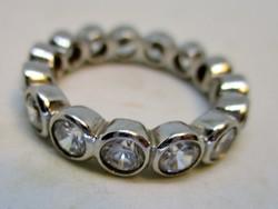 Szépséges régi  button  ezüst gyűrű sok kővel