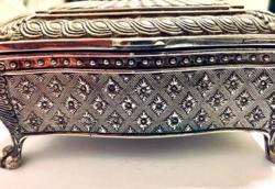 Gyönyörű szép ezüst és antik hatású ékszeres láda! Fullon