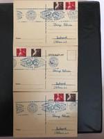 1947 Szabadsághôseink sorból felülbélyegzett 3 db emléklap