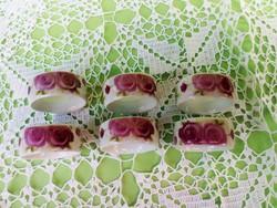 Romantikus, rózsás porcelán szalvéttagyűrű készlet