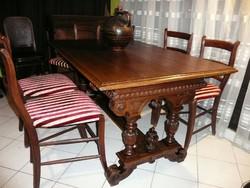 Álomszép antik faragott 6 személyes étkezőasztal gyönyörű állapotban Nem szuvas, nem kopott!