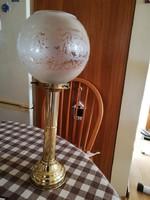 Réz gyertyatartó,lámpa üveg búrával...30-40-es évek