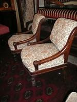 2 db ritka vonalvezetésű, kis méretű bécsi barokk fotel pár teljesen felújítva, újra kárpitozva