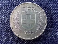 Svájc .835 ezüst 5 Frank 1932 B / id 13851/