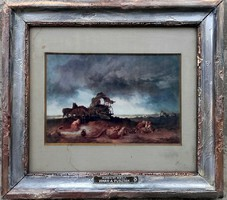 Munkácsy Mihály több mint 100 éves litográfiája, neve réztáblán a kereten. 32x36cm. Vihar a pusztán.