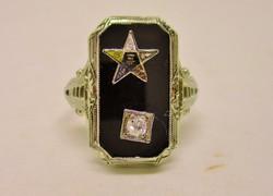 Különleges antik ónix és brill szabadkőműves arany gyűrű