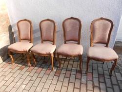 4 db neobarokk szék, hibátlanok Masszív,stabil. Bársony,púderszínű huzattal