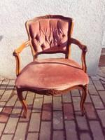 Neobarokk fotel, íróasztalszék bársony huzattal, faragott díszítéssel.Stabil, masszív.