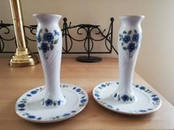Zsolnay kék virágos gyertyatartó pár