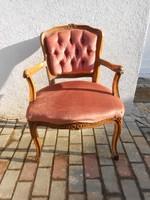 Neobarokk fotel,íróasztalszék,bársony huzattal, faragott díszítéssel.Stabil, masszív.