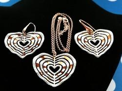 Aranyozott ezüst szett(nyaklánc, medál, fülbevaló)