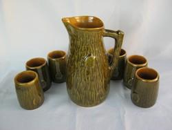 Magyarszombatfai retro kerámia készlet kancsó és 6 pohár