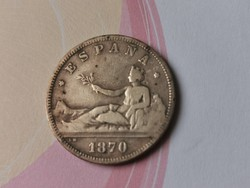 1870 ezüst 2 peseta 10 gramm