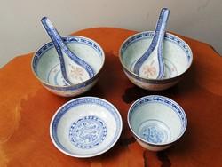Kínai rizsszemes és sárkánymotívumos porcelán készlet pótló csomag