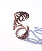 Cca. 200 köves extrém, alkalmi aranyozott gyűrű