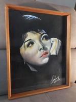 Padlás kisöprés! Retro női portré 67- ből. Bárba, kávézóba, klubbszobába......