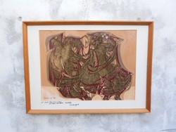 Xantus Gyula ( 1919- 1993 ) Táncosok című alkotása, 1971-ből. Olajfestmény, duplán jelzett