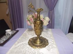 Antik nagyméretű bronzírozott kos fejű puttós réz  karafa alátéttel,tányérral