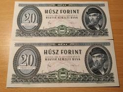 20 forint 1980 év sorszám követő!UNC