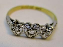 Szép antik arany platina gyűrű gyémántokkal, szív alakú foglalatban
