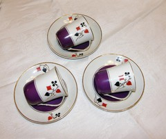 Kártya mintás teás / kávés csésze aljával Cmielow porcelán 3 db
