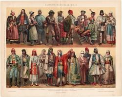 Európai népviseletek II. (1), 1896, színes nyomat, eredeti, magyar nyelvű, viselet, olasz, spanyol