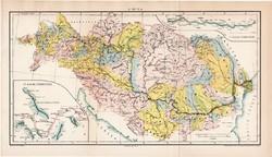 A Duna (1), térkép, 1894, eredeti, magyar nyelvű, lexikon melléklet, folyószabályozás, Magyarország
