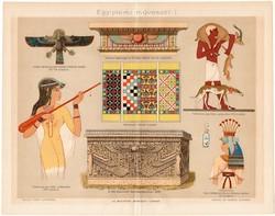Egyiptomi művészet I., 1894, színes nyomat, eredeti, magyar nyelvű, Egyiptom, szarkofág, falfestmény
