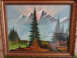 Alpesi táj-tájkép kerettel