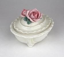 0Z055 Régi dupla rózsás ENS porcelán bonbonier