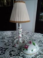 Herendi bécsi rózsás asztali lámpa és bonbonier együtt!