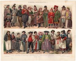 Európai népviseletek I. (2), 1896, színes nyomat, eredeti, magyar nyelvű, viselet, angol, német, ír