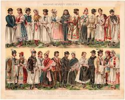 Magyar nemzeti viseletek II., 1896, színes nyomat, eredeti, magyar nyelvű, viselet, sokác, rábaközi