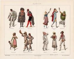 Álarcok, 1894, színes nyomat, eredeti, magyar nyelvű, maszk, álarc, farsang, színpad, olasz, régi