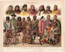Ázsiai népfajok, 1894, színes nyomat, eredeti, magyar nyelvű, litográfia, Ázsia, kínai, japán, régi