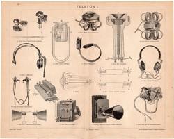 Telefon I., 1898, egyszín nyomat, eredeti, magyar nyelvű, Bell, Reiss, fejhallgató, telefonhallgató