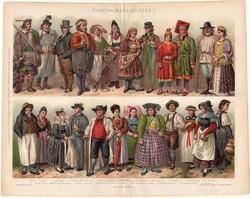 Európai népviseletek I. (1), 1896, színes nyomat, eredeti, magyar nyelvű, viselet, angol, német, ír