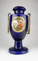 0U738 Régi kobaltkék Altwien porcelán urna váza