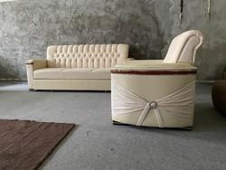 Új Chesterfield stílusú 3+1 luxus ágyazható kanapé szett