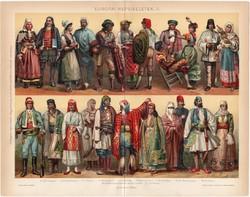 Európai népviseletek II. (3), 1896, színes nyomat, eredeti, magyar nyelvű, viselet, olasz, spanyol