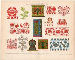 Magyar díszítmények I., 1896, színes nyomat, eredeti, magyar nyelvű, dísz, díszítés, motívum, minta