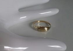 14K vékonyka,lemez arany gyűrű 0,86g