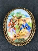 Zsáner jelenetes porcelán betétes bross 2./ Limoges