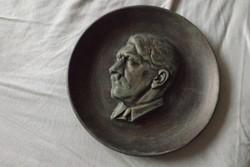 Ritka Fémöntvény Német Wehrmacht relikvia Hitler portré szobor dísz tál tányér