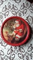 Karácsonyi dán kekszes fém doboz mikulással