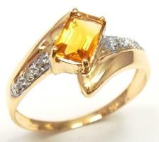 Tömör arany gyűrű természetes gyémánt és citrin kővekkel