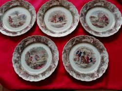 5 db Willeroy & Bosch antik vadász jelenetes fajansz tányér 19 cm