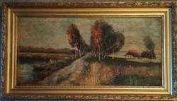 1910es Ivanácz Sándor festmény. Restaurálandó, de szép, hiánytalan állapotban.