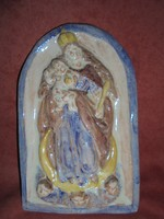 Mária Jézussal kerámia falidísz